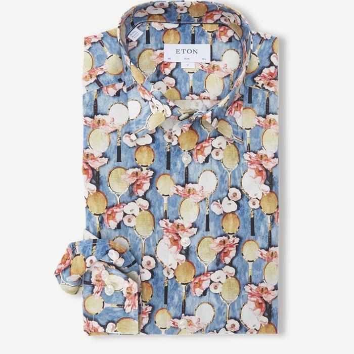 2757 Blomstret Poplin Skjorte - Skjorter - Blå