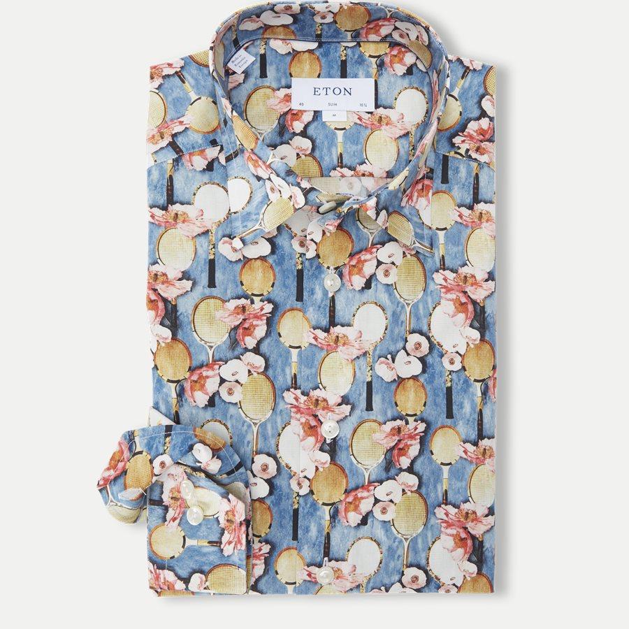 2757 61511/61311 - 2757 Blomstret Poplin Skjorte - Skjorter - BLÅ - 1
