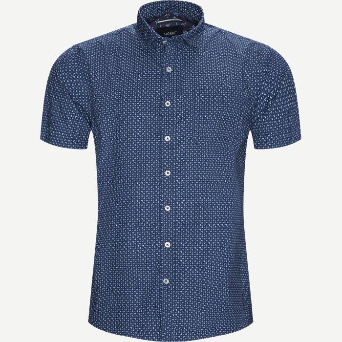 Mack Print CP Kortærmet Skjorte - Kortærmede skjorter - Regular - Blå