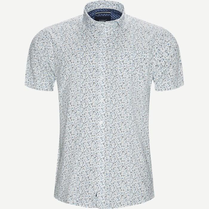 Mack Print CP Kortærmet Skjorte - Kortærmede skjorter - Regular - Hvid