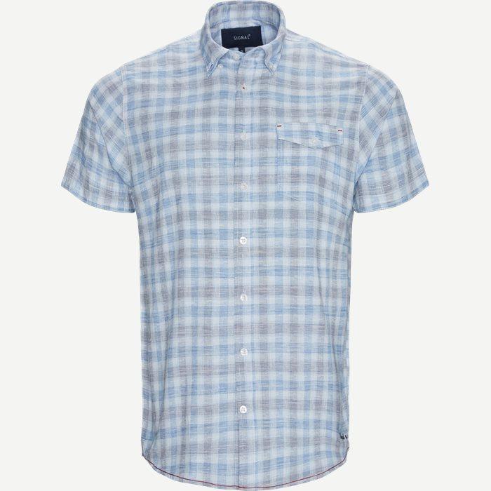 Penn Slub Kortærmet Skjorte - Kortærmede skjorter - Regular - Blå