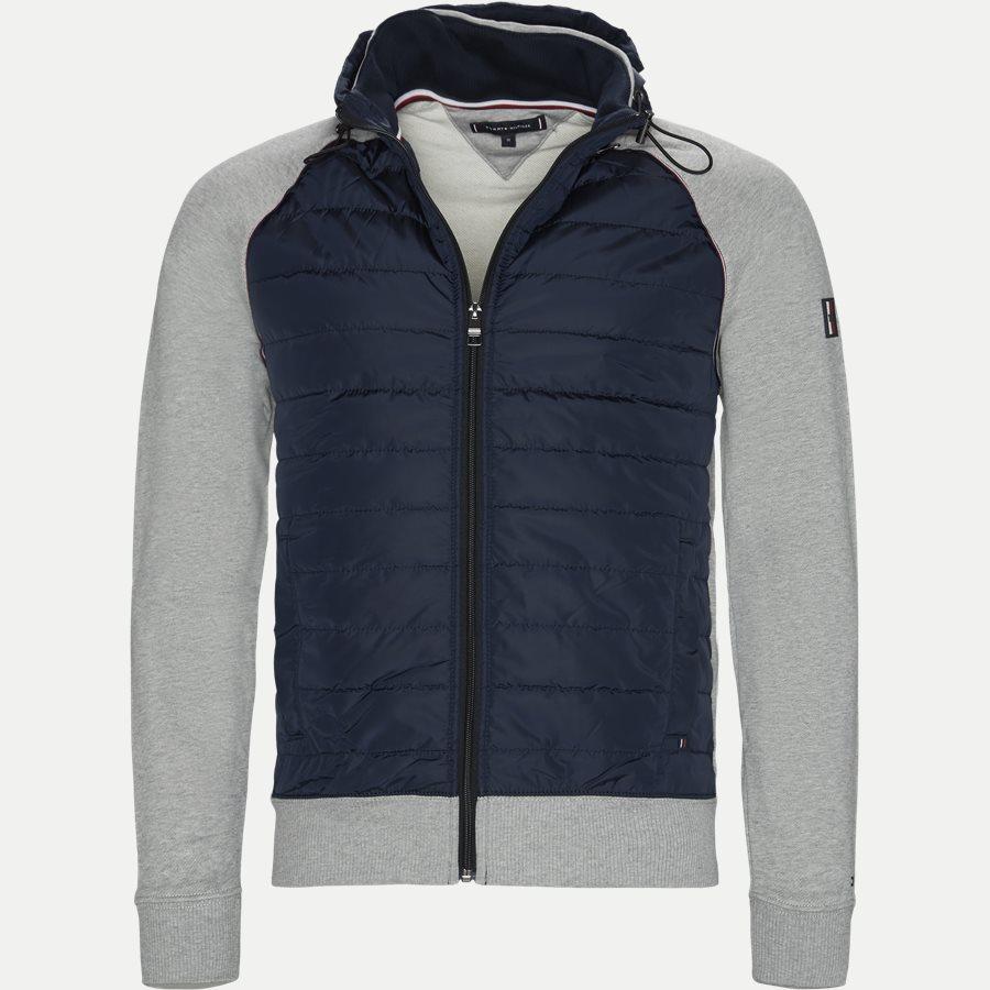 MIXED MEDIA HOODED ZIP THROUGH - Mixed Media Hooded Zip Through Sweatshirt - Sweatshirts - Regular - GRÅ - 1