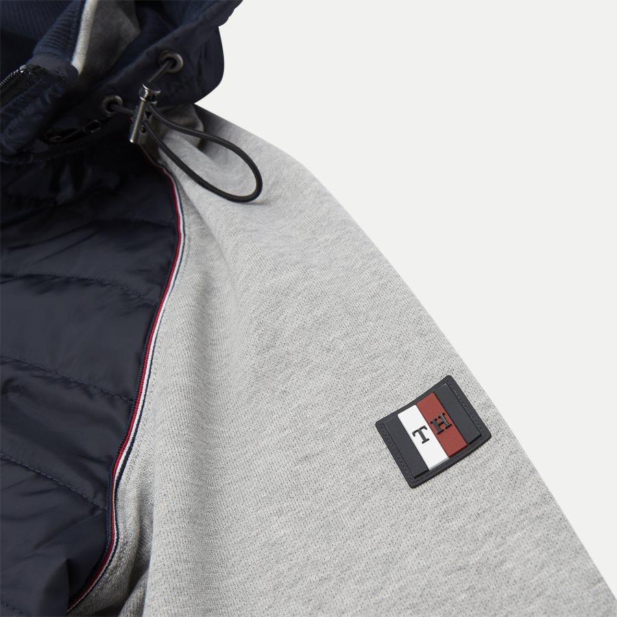 MIXED MEDIA HOODED ZIP THROUGH - Mixed Media Hooded Zip Through Sweatshirt - Sweatshirts - Regular - GRÅ - 7