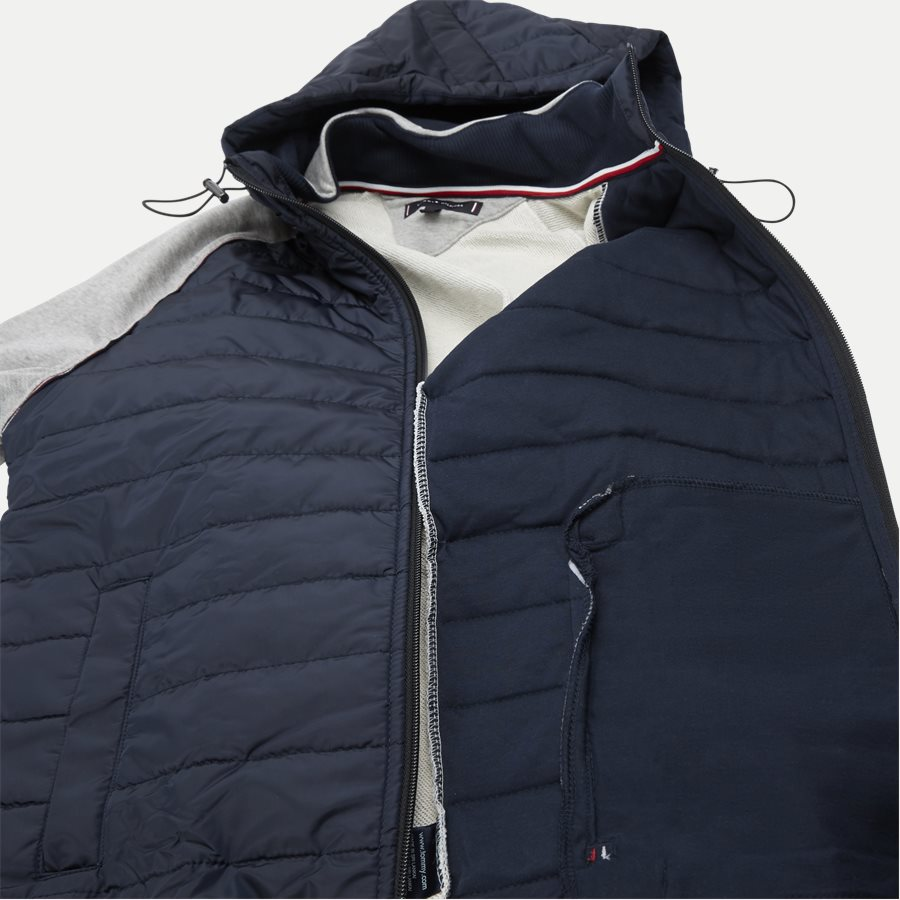 MIXED MEDIA HOODED ZIP THROUGH - Mixed Media Hooded Zip Through Sweatshirt - Sweatshirts - Regular - GRÅ - 9