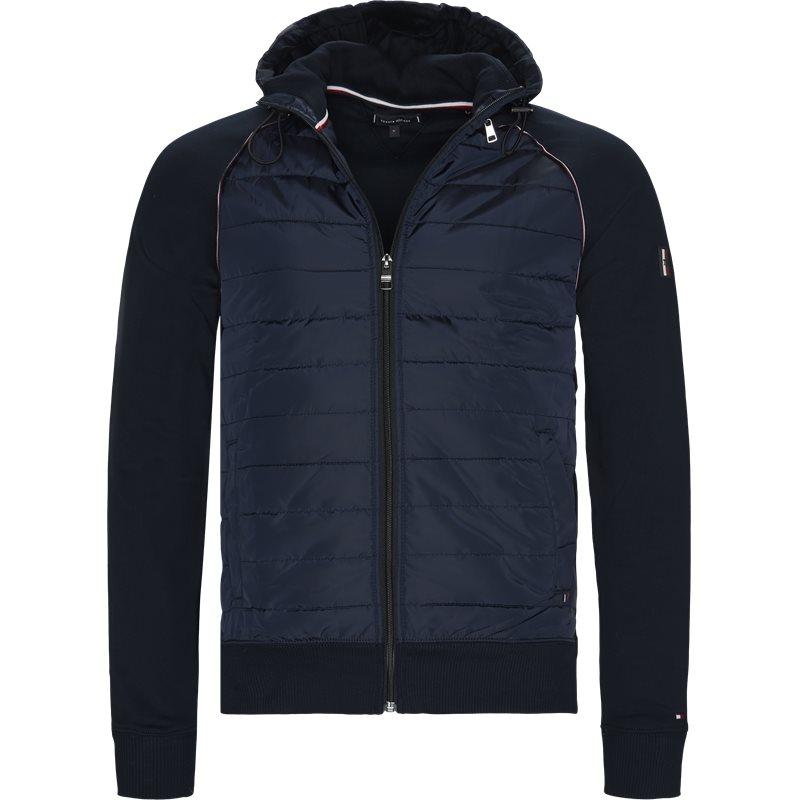 tommy hilfiger Tommy hilfiger - mixed media hooded zip through sweatshirt på kaufmann.dk