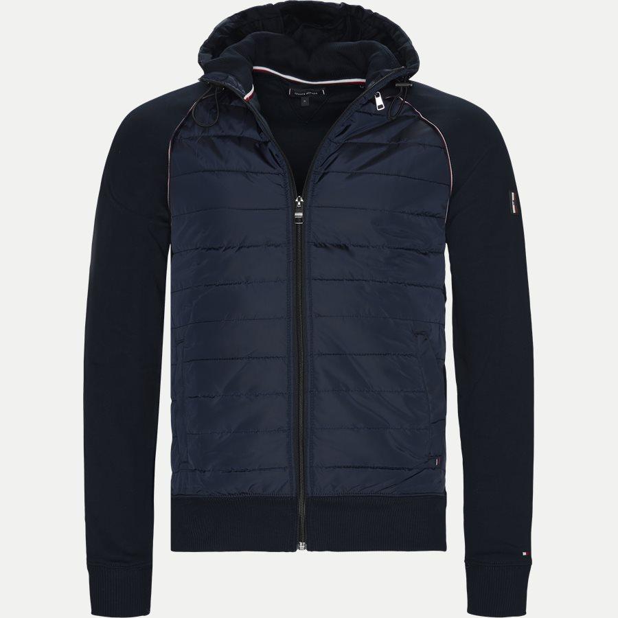 MIXED MEDIA HOODED ZIP THROUGH - Mixed Media Hooded Zip Through Sweatshirt - Sweatshirts - Regular - NAVY - 1