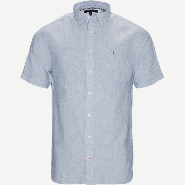 Cotton Linen Shirt SS  - Kortærmede skjorter - Regular - Blå