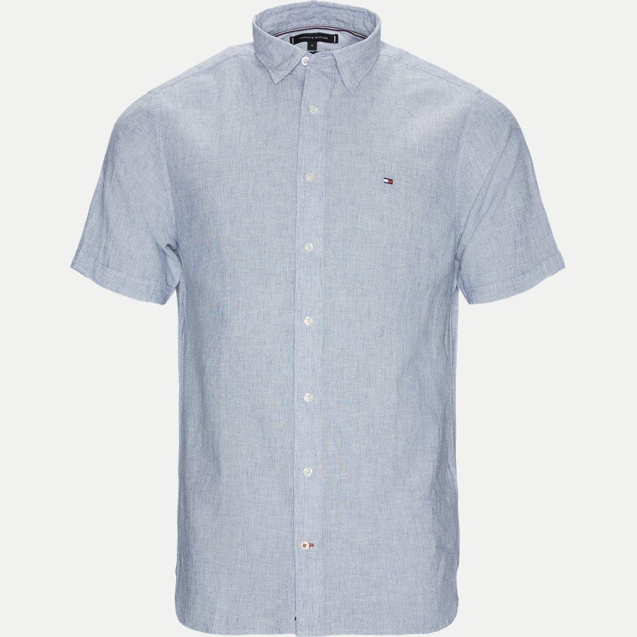 COTTON LINEN SHIRT S/S - Cotton Linen Shirt SS  - Skjorter - Regular - BLÅ - 1