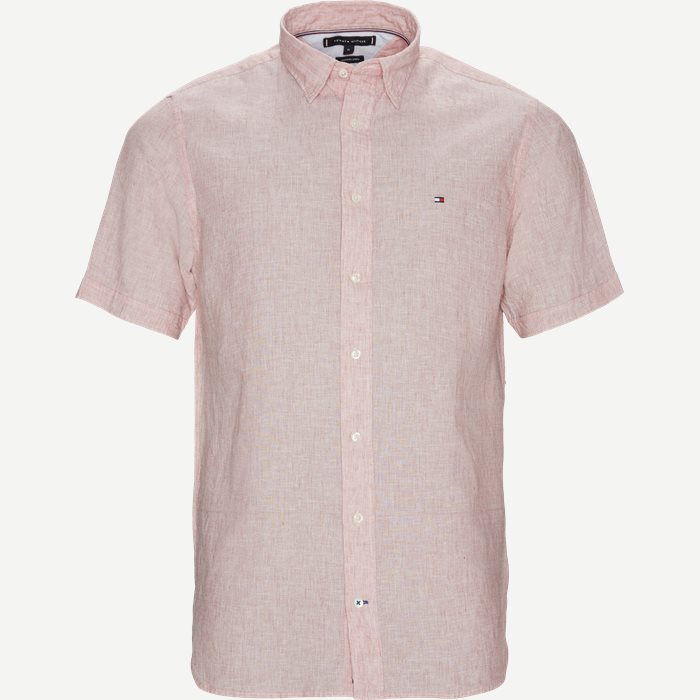 Cotton Linen Shirt SS  - Kortærmede skjorter - Regular - Rød