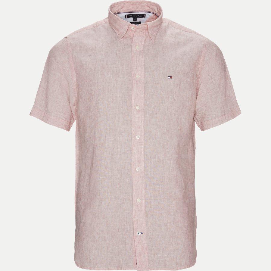 COTTON LINEN SHIRT S/S - Cotton Linen Shirt SS  - Skjorter - Regular - RØD - 1
