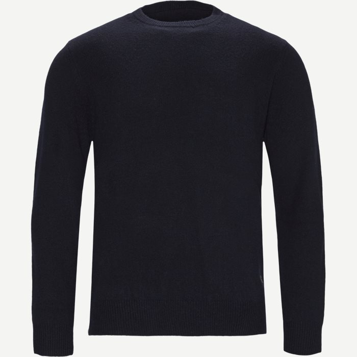 Patch Crew Sweater - Strik - Regular - Blå