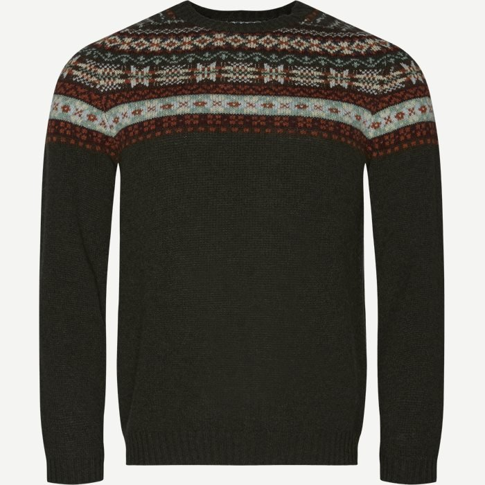 Nathan Fair Isle Sweater - Strik - Regular - Army