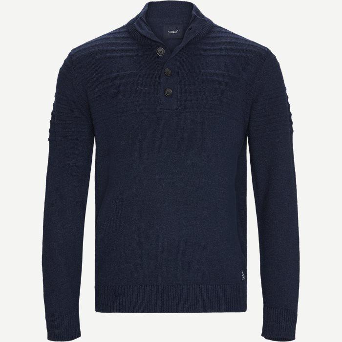 Cliff Button Sweater - Strik - Regular - Denim