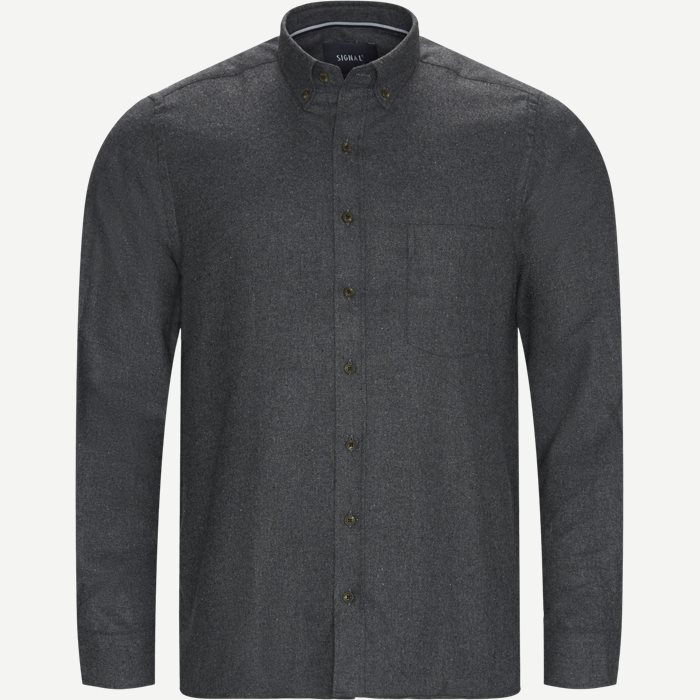 Franne Melange CP Button-Down Shirt - Skjorter - Regular - Grå
