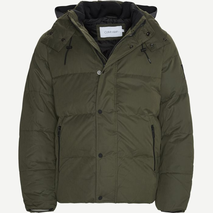 Mid Length Fake Down Jacket - Jakker - Regular - Army