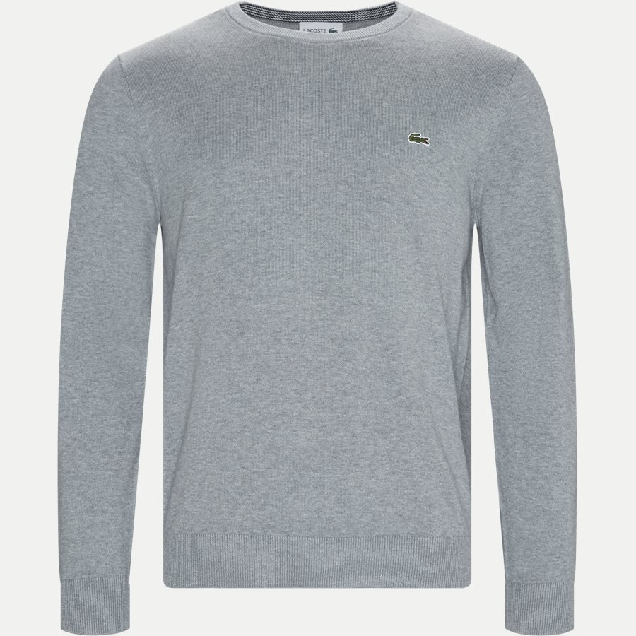 AH7004 - Crewneck Cotton Sweater - Strik - Regular - GRÅ - 1