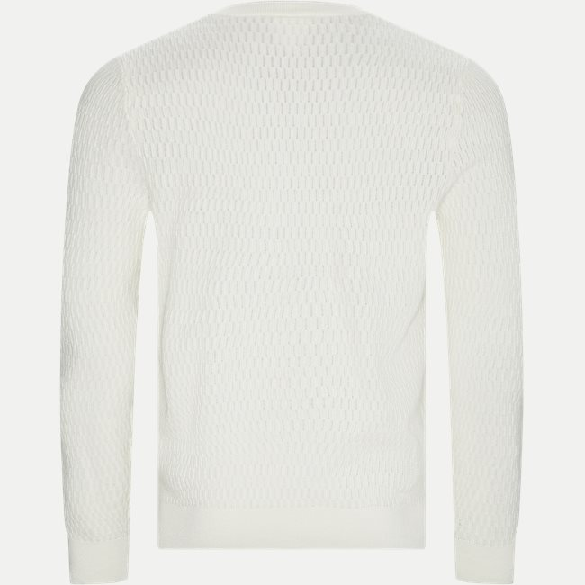 Crew Neck Textured Wool And Cashmere Blend Sweater