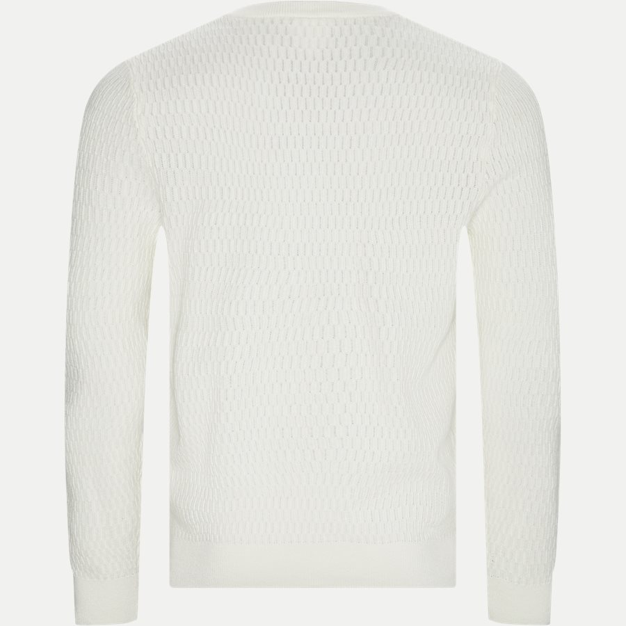 AH8157 - Crew Neck Textured Wool And Cashmere Blend Sweater - Strik - Regular - ECRU - 2