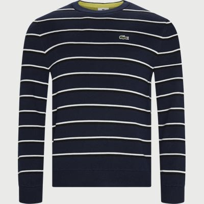 Striped Cotton Sweater Regular | Striped Cotton Sweater | Blå