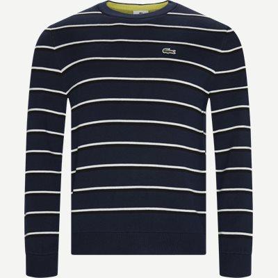 Striped Cotton Sweater Regular | Striped Cotton Sweater | Blå