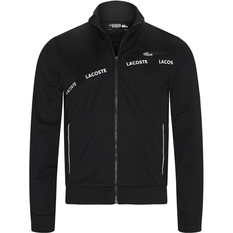 lacoste – Lacoste - signature band piqué zip sweatshirt på kaufmann.dk