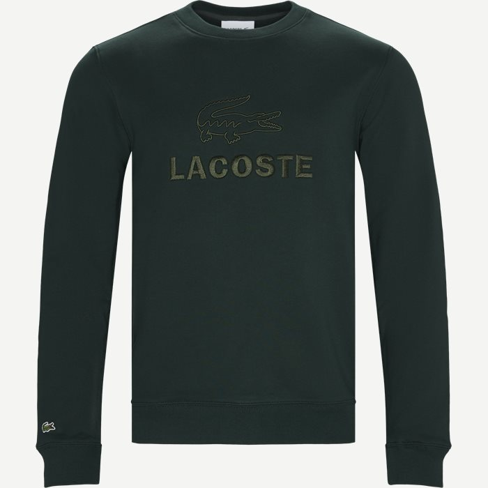 Embroidered Logo Cotton Fleece Sweatshirt - Sweatshirts - Regular - Grøn
