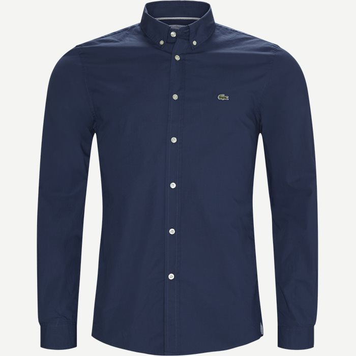 Stretch Cotton Poplin Shirt - Skjorter - Slim - Blå