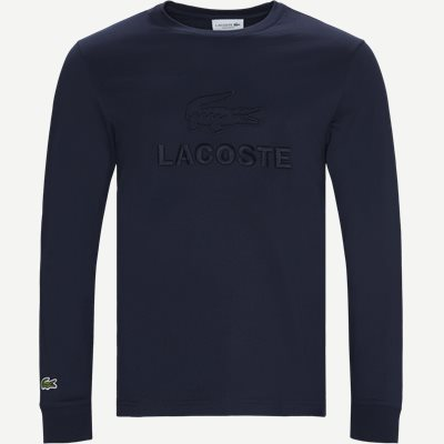 Tone-On-Tone Lacoste Embroidery Cotton T-shirt Regular | Tone-On-Tone Lacoste Embroidery Cotton T-shirt | Blå