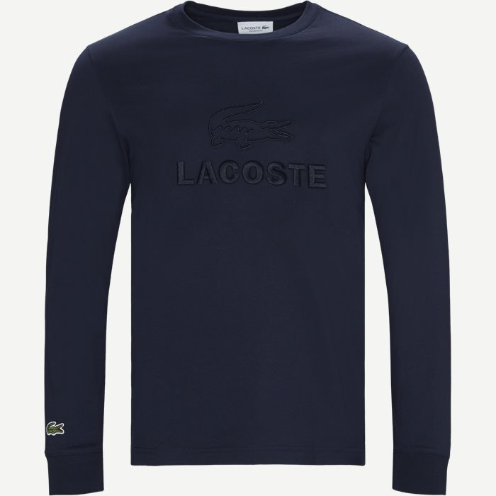 Tone-On-Tone Lacoste Embroidery Cotton T-shirt - T-shirts - Regular - Blå