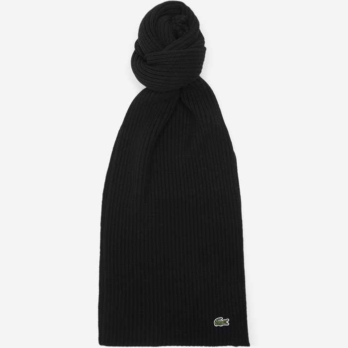 Ribbed Wool Scarf - Tørklæder - Sort
