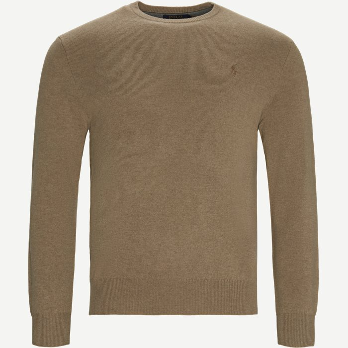 Crew Neck Jumper - Strik - Regular - Brun