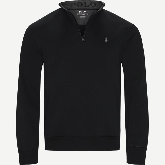 Half-Zip Sweatshirt - Strik - Regular - Sort