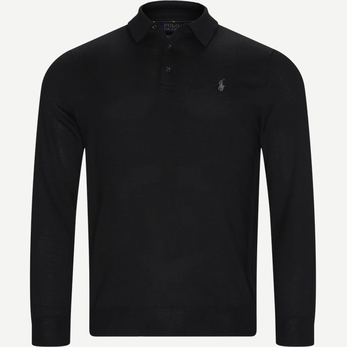 Knitted Polo Shirt - Strik - Regular - Sort