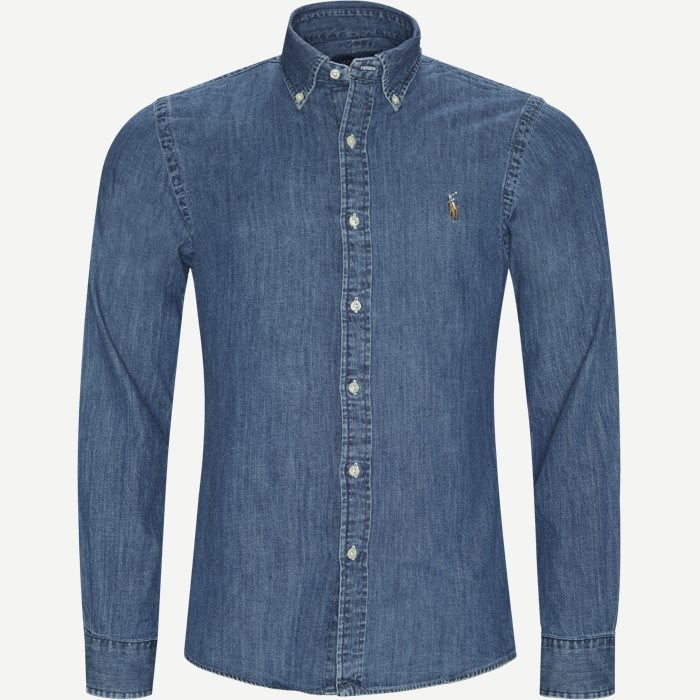 Denim Button-Down Shirt - Skjorter - Slim - Denim
