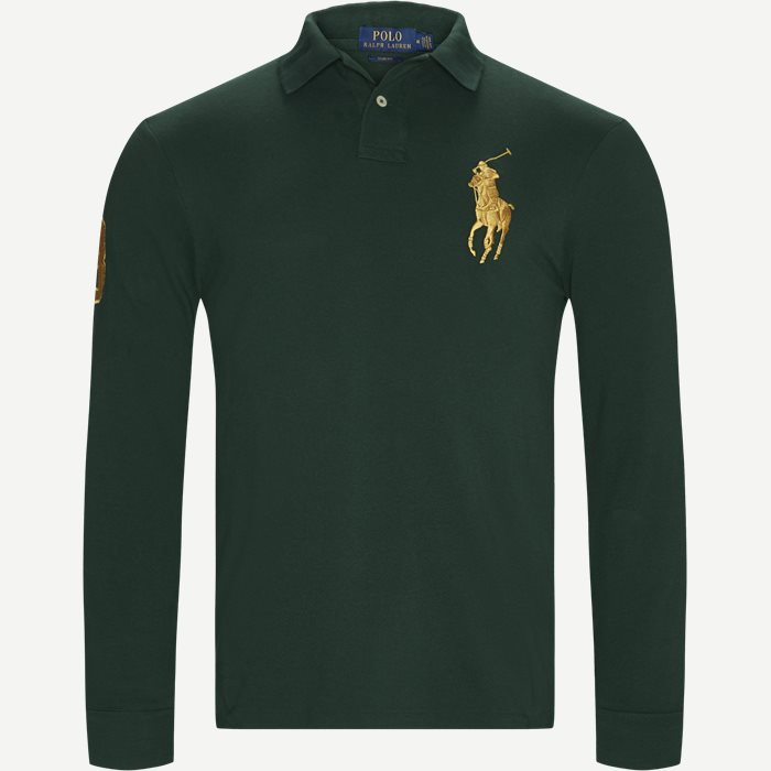 Long Sleeved Big Pony Polo Shirt - T-shirts - Slim - Grøn