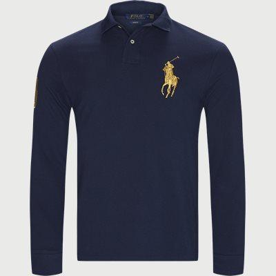Long Sleeved Big Pony Polo Shirt Slim | Long Sleeved Big Pony Polo Shirt | Blå