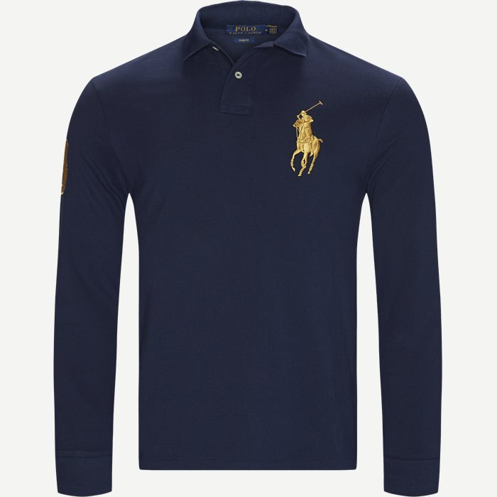 Long Sleeved Big Pony Polo Shirt - T-shirts - Slim - Blå