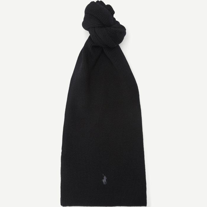 Wool Logo Scarf - Tørklæder - Sort