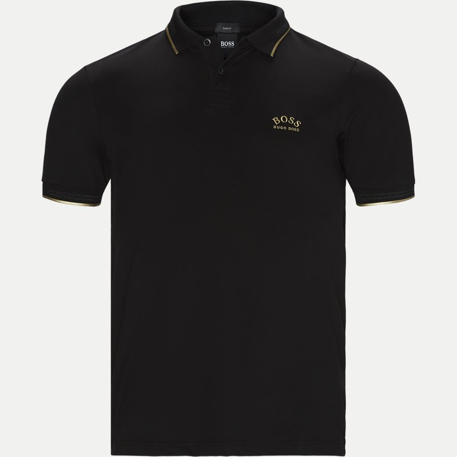 50412675 PAUL CURVED. - Paul Curved Polo T-shirt - T-shirts - Slim - SORT/GULD - 1
