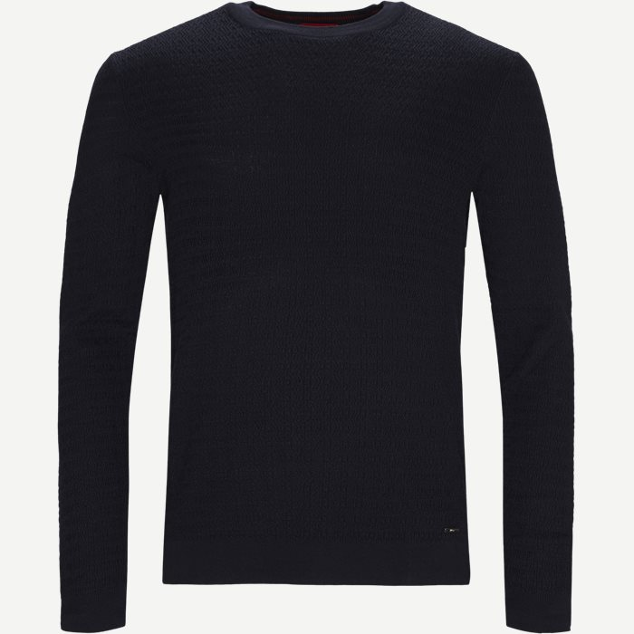Smulton Crew-Neck Sweater - Strik - Regular - Blå