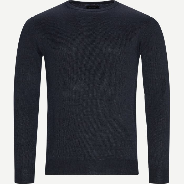 Merino JC Two Tone Sweater - Strik - Regular - Blå
