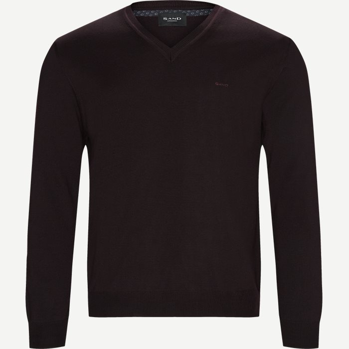 Merino Embr. V-Neck - Strik - Regular - Bordeaux