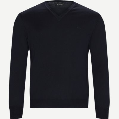 Merino Embr. V-Neck Regular | Merino Embr. V-Neck | Blå