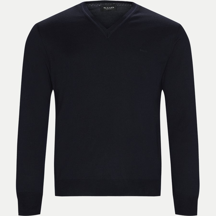 MERINO EMBR DUSTIN - Merino Embr. V-Neck - Strik - Regular - NAVY - 1