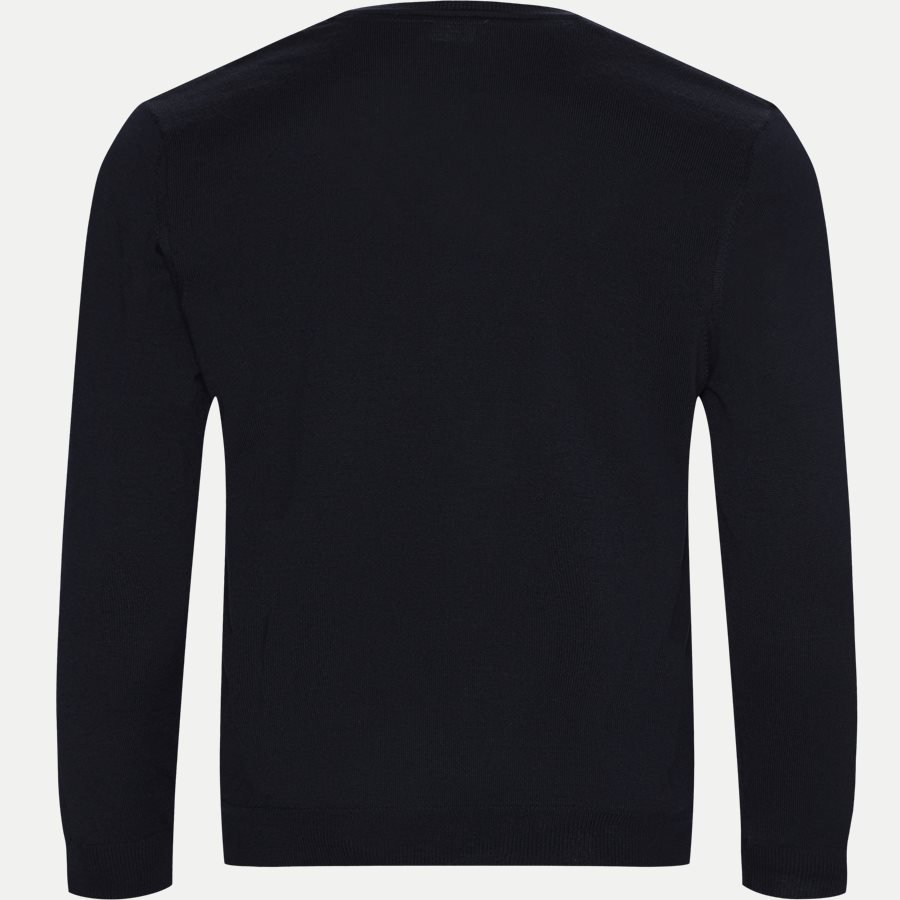 MERINO EMBR DUSTIN - Merino Embr. V-Neck - Strik - Regular - NAVY - 2