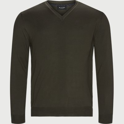 Merino Embr. V-Neck Regular | Merino Embr. V-Neck | Army