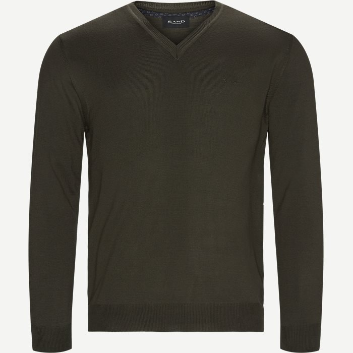 Merino Embr. V-Neck - Strik - Regular - Army