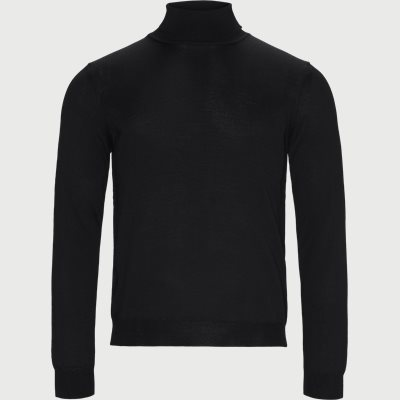 Merino Embr. Turtleneck Regular | Merino Embr. Turtleneck | Sort