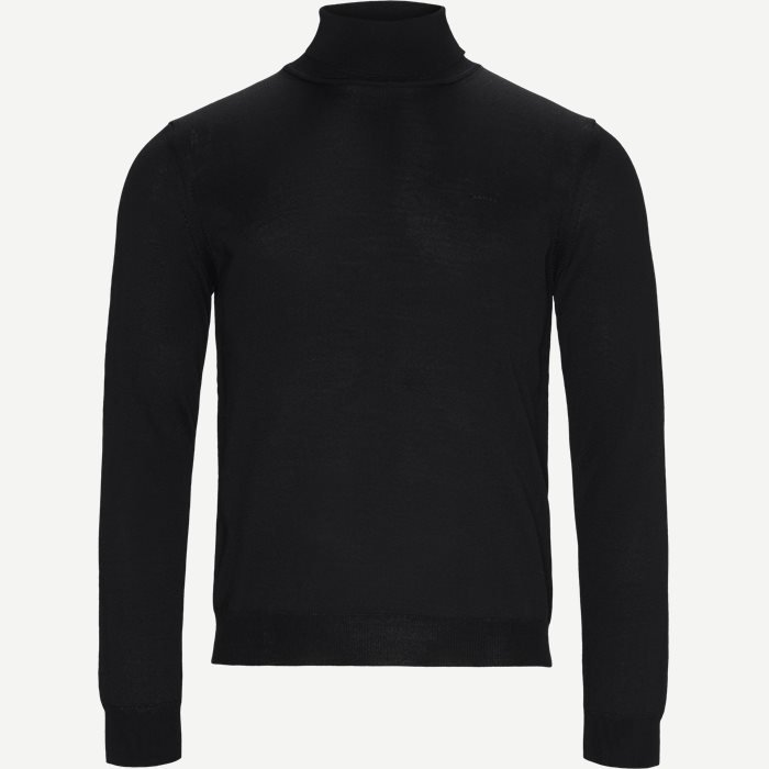 Merino Embr. Turtleneck - Strik - Regular - Sort