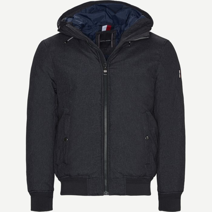 Structure Hooded Bomber Jacket - Jakker - Regular - Grå